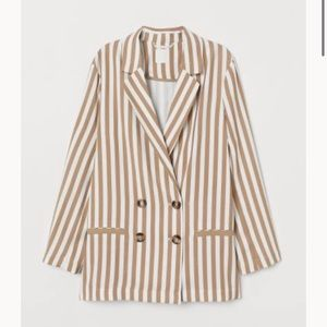 H&M Blazer Striped brown double breasted Medium